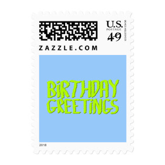 Birthday Greetings. Green and Blue. Custom Postage Stamp