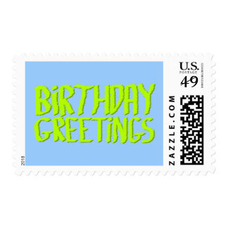 Birthday Greetings. Green and Blue. Custom Stamps