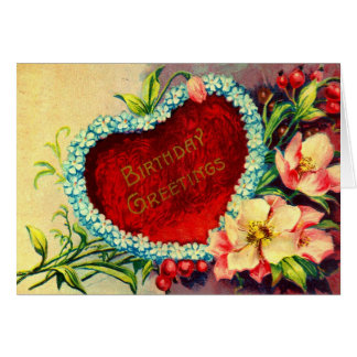 Birthday Greetings Heart Flowers 1909 vintage Card