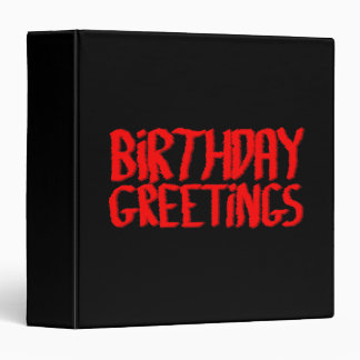 Birthday Greetings. Red and Black. 3 Ring Binder