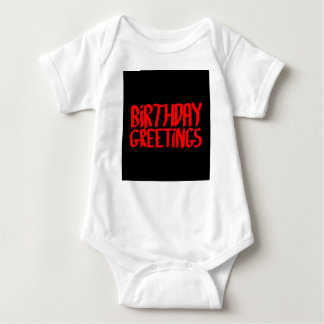 Birthday Greetings. Red and Black. Baby Bodysuit