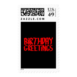 Birthday Greetings. Red and Black. Stamps