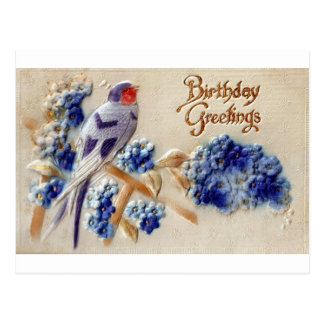 Birthday Greetings Vintage Fabric Bird Postcard