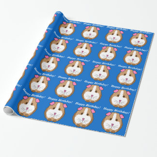 Birthday Guinea Pig Blue Wrapping Paper