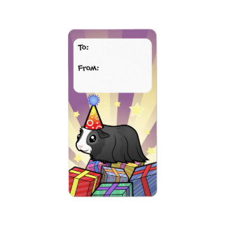 Birthday Guinea Pig Gift Tags (long hair)