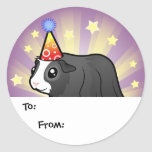 Birthday Guinea Pig Gift Tags (long hair) Classic Round Sticker