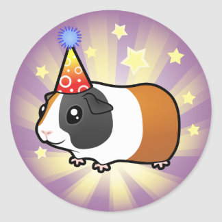 Birthday Guinea Pig (smooth hair) Classic Round Sticker