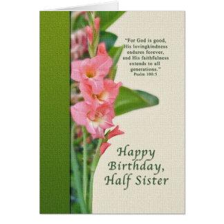 Birthday, Half Sister, Pink Gladiolus, Card