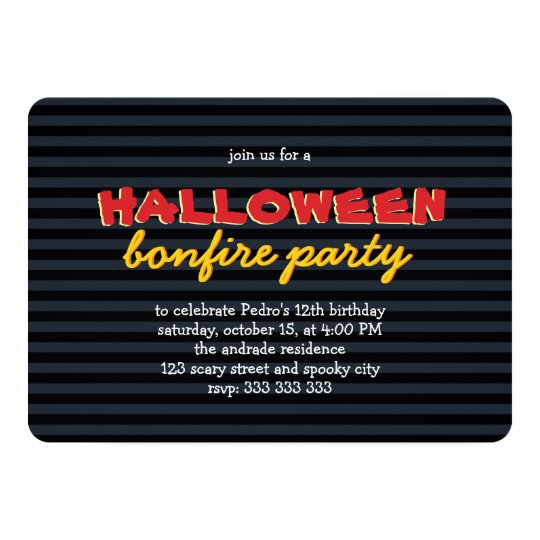 Birthday Halloween Party Bonfire Teen Boy 12th Invitation