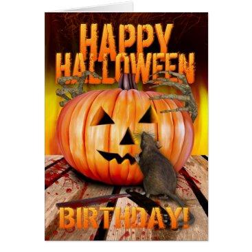 Halloween Themed Birthday Halloween Pumpkin Rat, Skeleton Hands Card