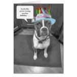 Birthday Hat Brindle Boxer Card