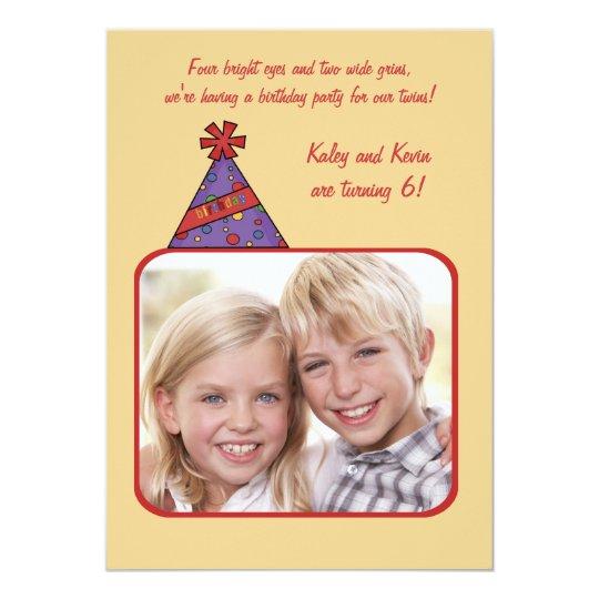Birthday Hat - Photo Birthday Party  Invitation