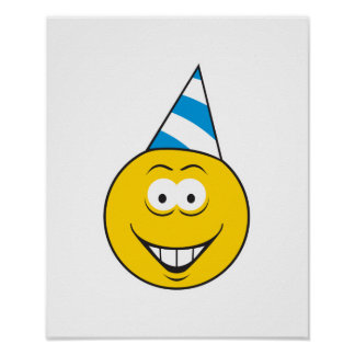 Birthday Hat Smiley Face Poster