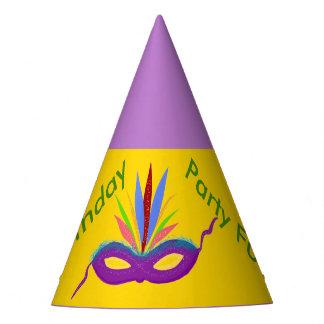 Birthday Hats Purple Mardi Gras Mask