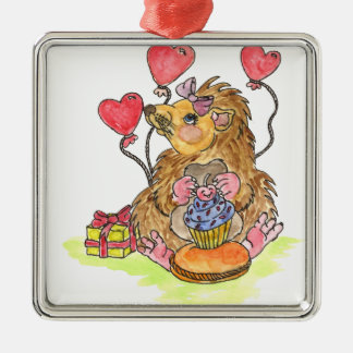 Birthday Hedgehog Silver-Colored Square Decoration