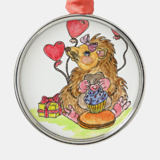 Birthday Hedgehog Silver-Colored Round Decoration