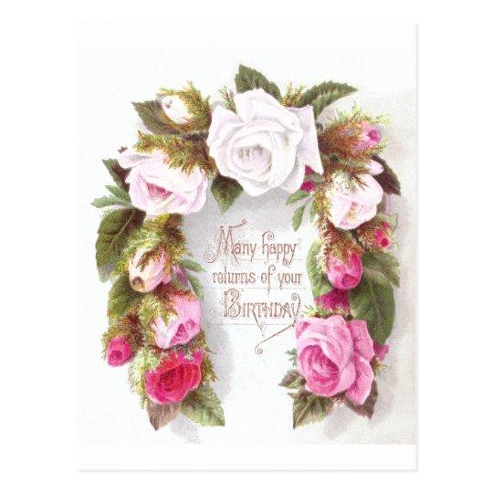 Birthday Horseshoe Rose Postcard