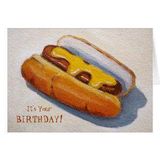 Birthday: Hot Diggety Dawg: Painting of Hot Dog Card