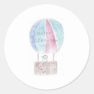 Birthday Hotair Ballon Classic Round Sticker