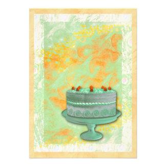 Birthday housewarming tea party cake custom invites