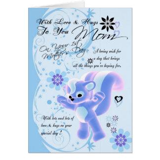 Birthday Hugs for Mom, Mom Birthday Card cute