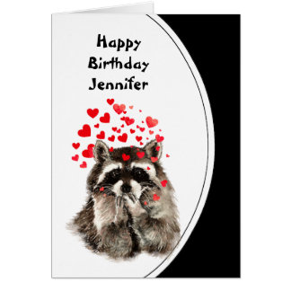 Birthday Hugs & Kisses Raccoon Animal Custom Card