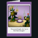 """Birthday Humor Dragons Greeting Card For Kids<br><div class=""""desc"""">Enjoy spreading the laughter with this funny cartoon dragons  happy birthday greeting card by artist Bill Abbott. Bill Abbott&#39;s cartoon &quot;Spectickles&quot; the internationally syndicated comic has also appeared in Hallmark U.K.,  Reader&#39;s Digest,  Saturday Evening Post and other fine magazines!</div>"""