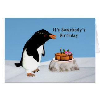 Birthday, Humorous Penguin and Cake Card