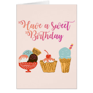 Birthday Ice Cream Illustration Card