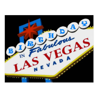 BIRTHDAY IN Fabulous Las Vegas Postcard BLUE