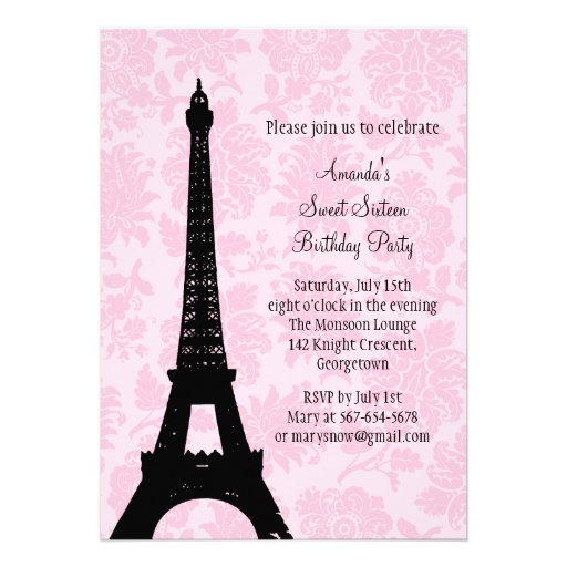 Birthday in Paris Sweet Sixteen Announcements