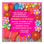 Birthday Invitation: 003 Butterflies and Flowers 5.25x5.25 Square Paper Invitation Card