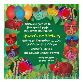 Birthday Invitation: 005 Elephants Card