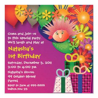 Birthday invitation : 015 Porcupine & Flowers