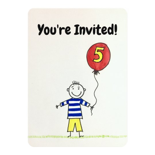 Birthday Invitation 5 Years Old Boy With Balloon