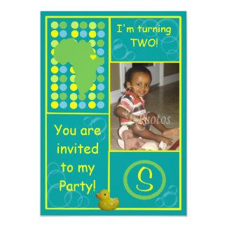 Birthday Invitation (Back) - Blue/Yellow Bubbles