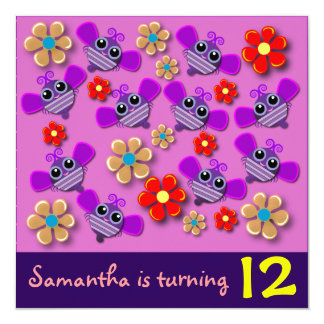 Birthday invitation: Bees & Flowers Card