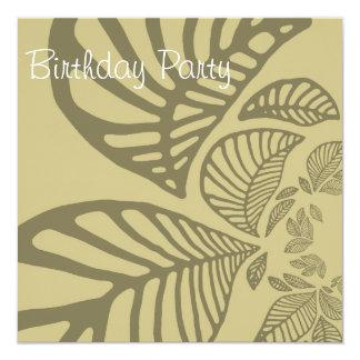 Birthday Invitation brown leaf