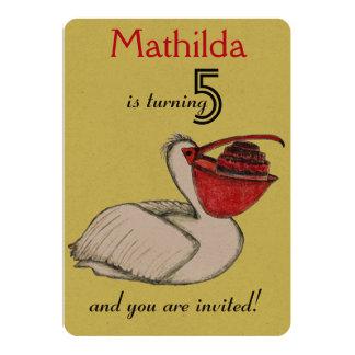 Birthday Invitation Card White Pelican