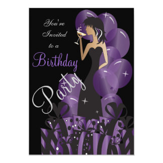 "Birthday Invitation, Classy Girl's Party 5"" X 7"" Invitation Card"