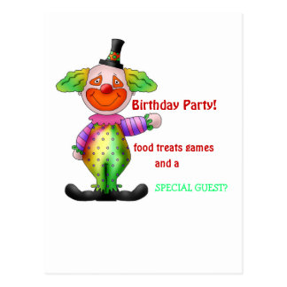 Birthday invitation clown postcard