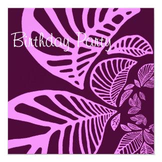 Birthday Invitation Dark Purple Leaf