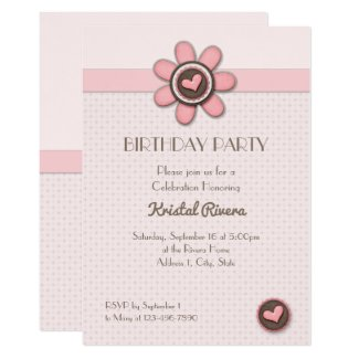"Birthday Invitation - Floral Button Invitación 5"" X 7"""