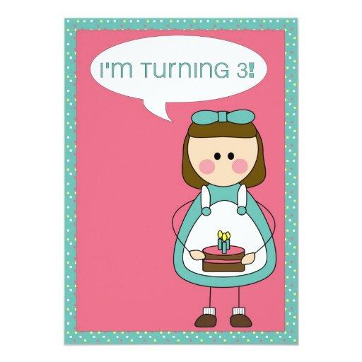 Birthday Invitation (girl Turning 3)