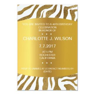 Birthday Invitation Golden Zebra Skin Vip