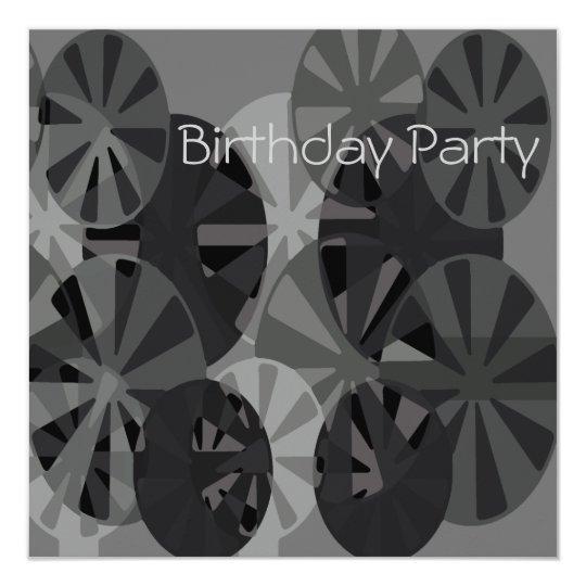 Birthday Invitation Gray Circle Abstract