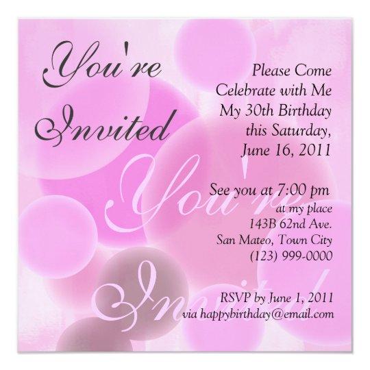 Birthday Invitation in Pink