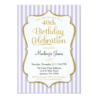 Birthday Invitation Lavender Lilac Gold Adult Teen