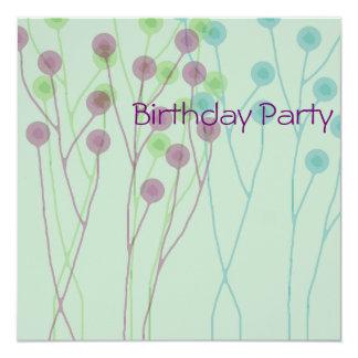 Birthday Invitation light blue balloons