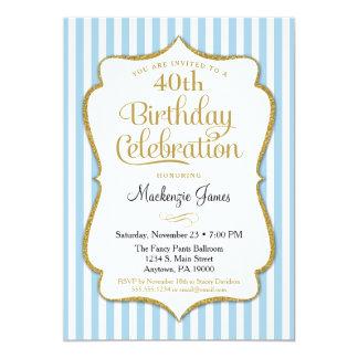 Birthday Invitation Light Blue Gold Adult Teen